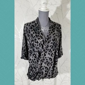 Babaton Gray Leopard Print Loose Layered Blouse